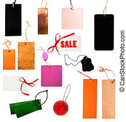 Set of blank price tags on white background