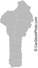 Map of Benin, Littoral highlighted - Map of Benin where...