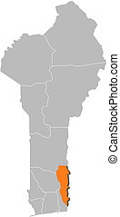 Map of Benin, Plateau highlighted - Map of Benin where...
