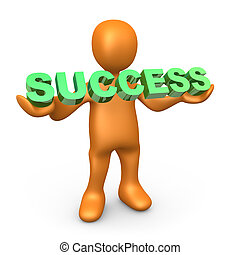 "Success - 3d person holding the word \""success\\\"" ."