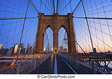 Brooklyn Bridge. - Image of the famous Brooklyn Bridge at...