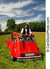 francês, homem, seu, típico, vermelho, car