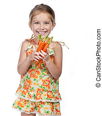 little girl  with the carrot
