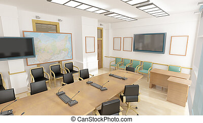 Interior, cadeiras, escritório, vermelho