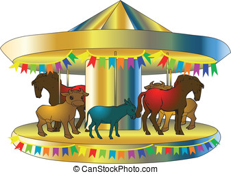carousel - funny colorful carousel isolated on white...