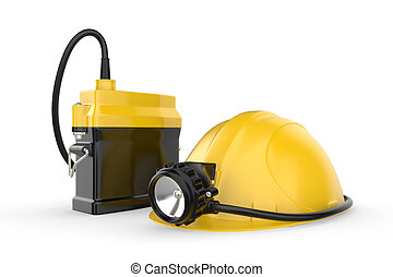 Miners helmet with lamp on a white background. Rescue...