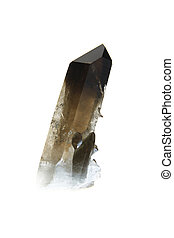 smoky Quartz - Smoky quartz crystal, isolated against a...