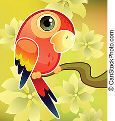 Red parrot on tree - Vector illustration of a red parrot on...