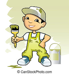 Decorator with brush - Vector illustration of a decorator...