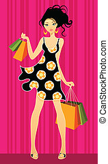 Young girls shopping - Vector illustration of a young girls...