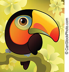 Toucan on the branch - Vector illustration of a toucan on...