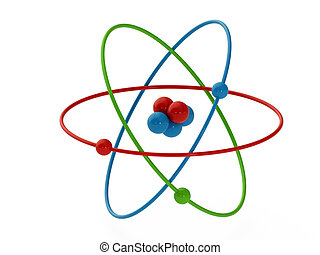 Atom - atom structure model isolate on white background
