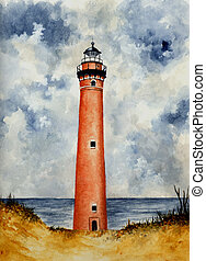 Little Sable Point Lighthouse - Watercolor painting of the...