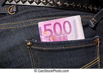 notas, vaqueros, bolsillo, cinco, cien,  Euro