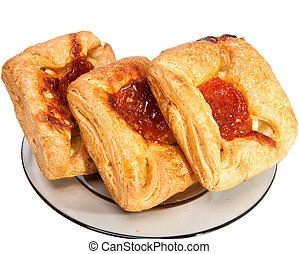 Puff fancy bread with jam