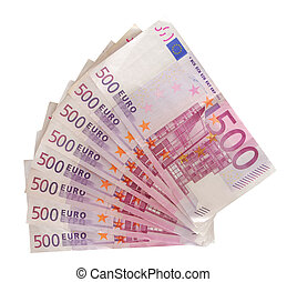 Five hundred euro notes isolated over white background