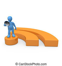 Blog - 3d person standing on an rss symbol holding a...