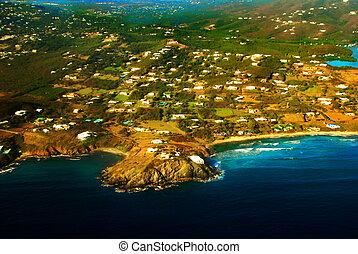 Aerial View of St. Croix, USVI - This aerial view taken from...