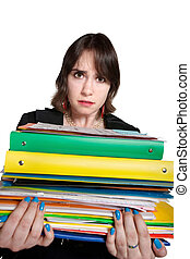 Worker with Stack of Binders - Overwhelmed young...