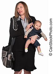 Weeping Businesswoman with Baby - Weeping female executive...