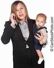 Frustrated Lady on Phone with Baby - Pretty businesswoman...
