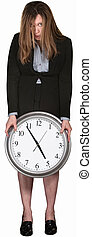Tired Businesswoman with Clock