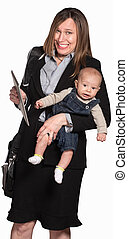 Working Mother With Baby - Happy businesswoman with baby...