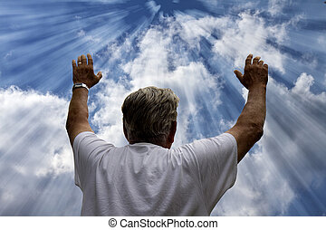 Man Praising God - Illustration - Rays pouring down from the...