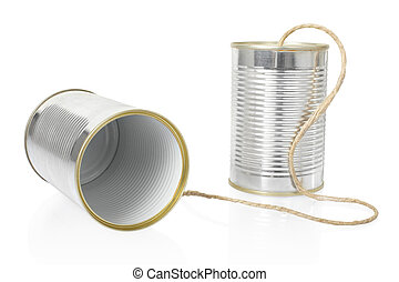 Tin can phone on white - Can telephone isolated on white,...