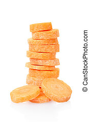 Sliced carrots stack isolated