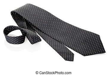 Black necktie on white - Polka dot elegant tie isolated on...
