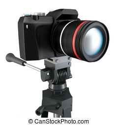 3d detailed camera on tripod on white background