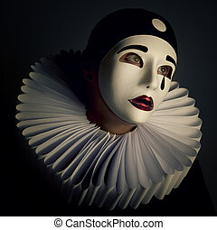 Girl with mask pierrot
