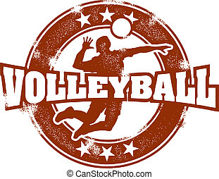 Vintage Volleyball Sport Stamp - Distressed volleyball...