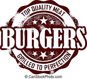 vendemmia, stile, hamburger, menu, francobollo