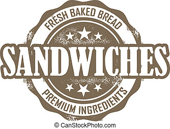 Vintage Deli Sandwich Stamp - Vintage style stamp for...