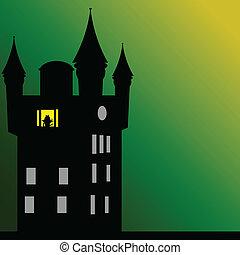 castle with dark green background