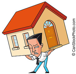 Mortgaged - Isolated illustration Mortgaged man raising his...