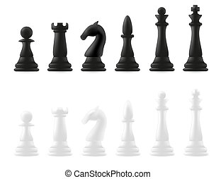 chess pieces vector illustration isolated on white...