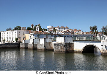 Ancient Roman bridge in Tavira, Algarve Portugal