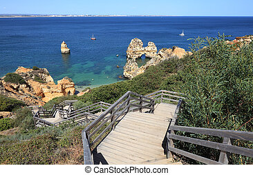 Stairs to the beach in Algarve Coast, Lagos Portugal