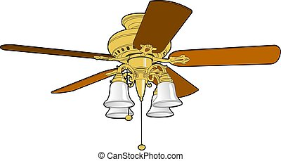 Ceiling Fan - Five blade ceiling fan used to cool and warm a...