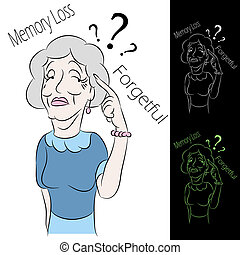 Senior Woman Memory Loss - An image of a senior woman with...