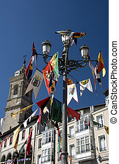 Colorful flags on the medieval market - Vitoria Gasteiz...