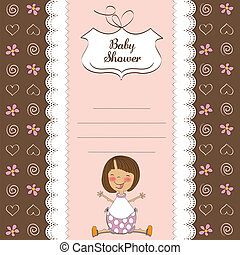 new baby girl shower card with girl
