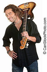 Cute Guitarist - Easygoing white male holds a guitar over...