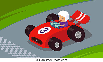 Race Car - Guy driving a race car to success