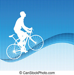 bicyclist on the blue background