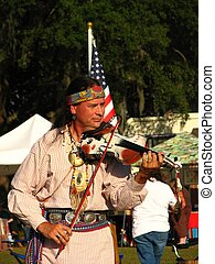 Entertainer - Native American entertainer at gathering in...