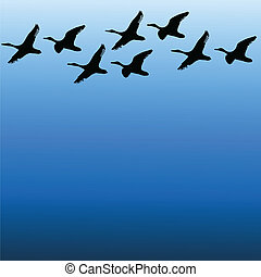 migratory birds on sky color vector - migratory birds on...